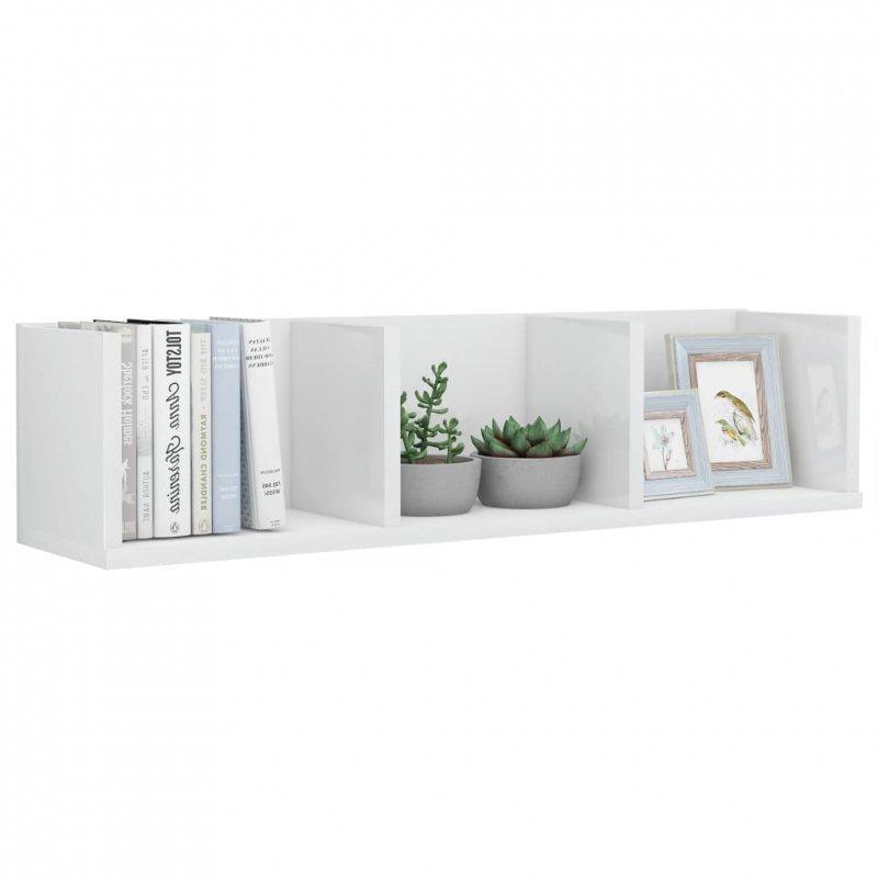 Półka ścienna na płyty CD, biała, wysoki połysk, 75x18x18 cm
