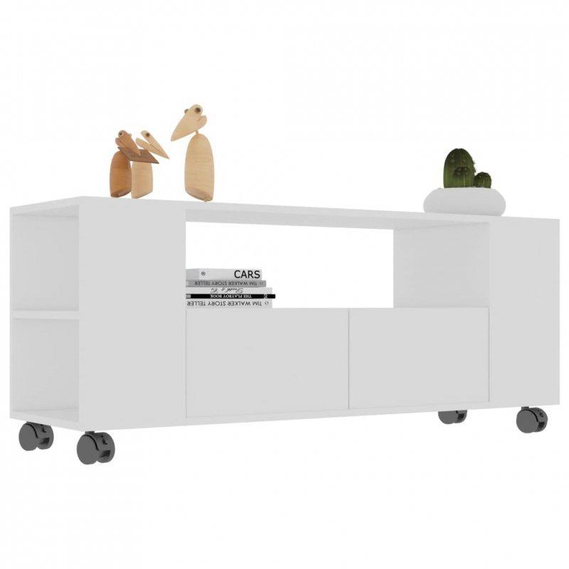 Szafka pod TV, biała, 120x35x43cm, płyta wiórowa