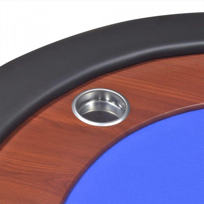 Stół do pokera dla 10 graczy z tacą na żetony, niebieski