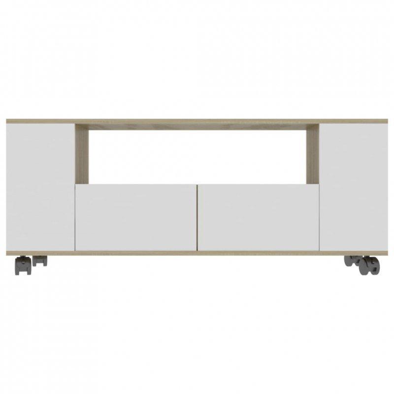 Szafka TV, biel i dąb sonoma, 120x35x43 cm, płyta wiórowa
