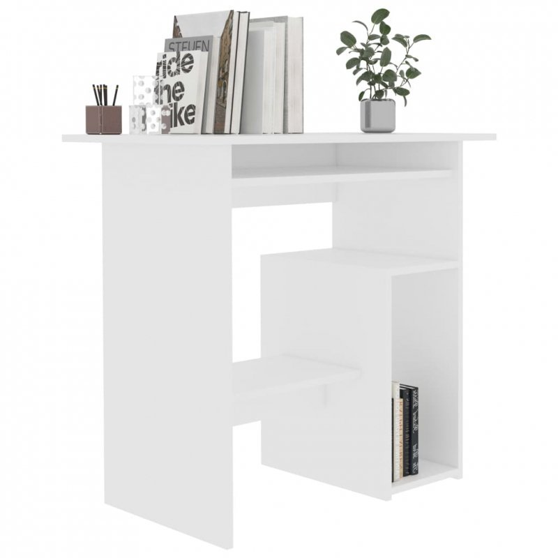 Biurko, białe, 80x45x74 cm, płyta wiórowa