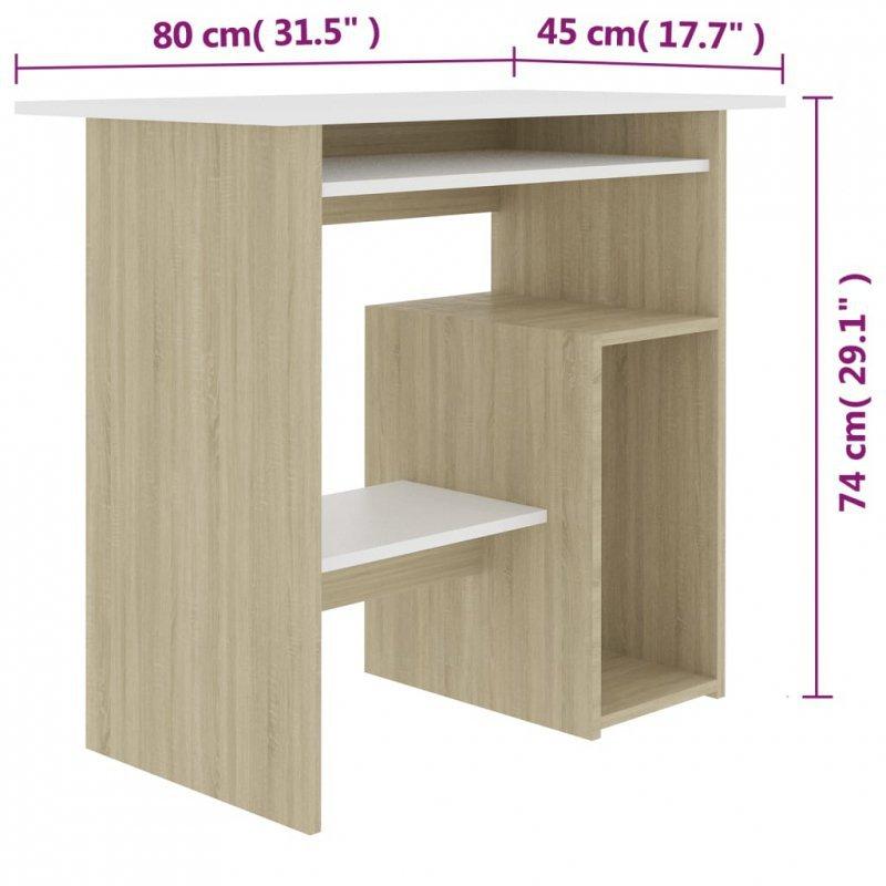 Biurko, biel i dąb sonoma, 80x45x74 cm, płyta wiórowa