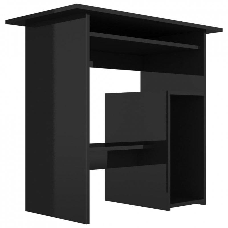 Biurko, wysoki połysk, czarne, 80x45x74 cm, płyta wiórowa