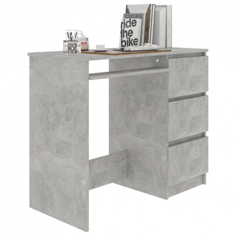 Biurko, szarość betonu, 90x45x76 cm, płyta wiórowa