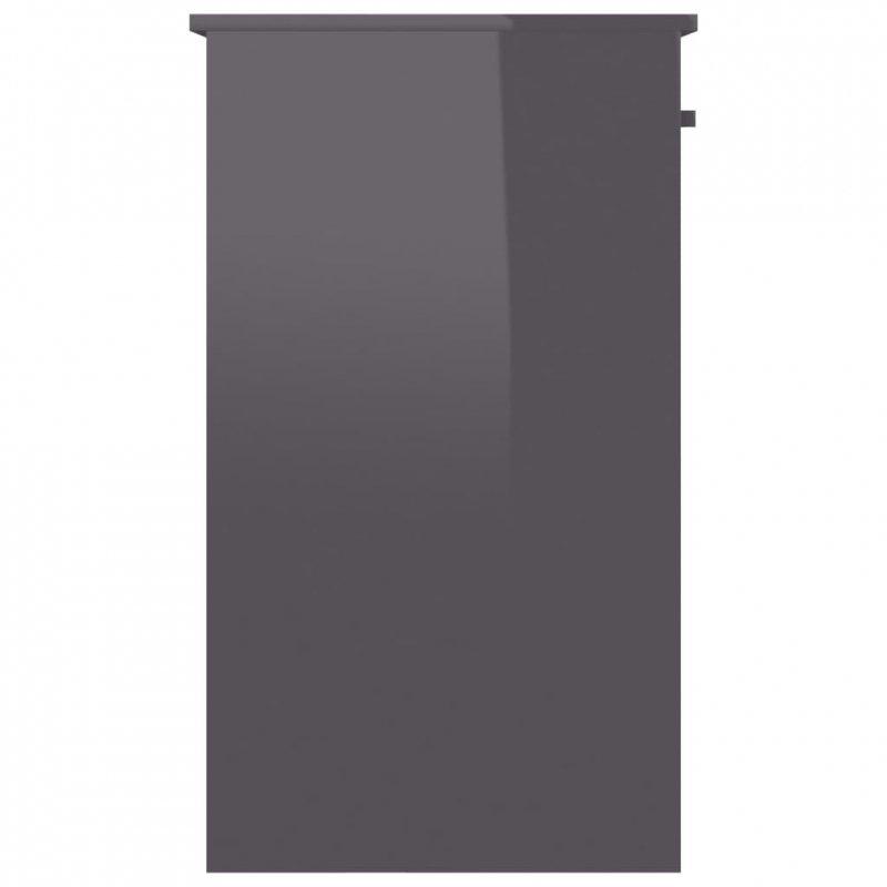 Biurko, wysoki połysk, szare, 90x45x76 cm, płyta wiórowa