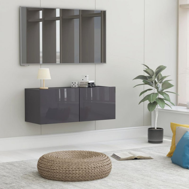 Szafka TV, wysoki połysk, szara, 80x30x30 cm, płyta wiórowa