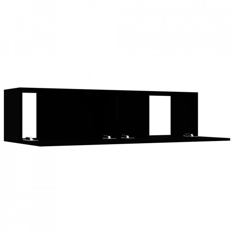 Szafka TV, czarna, 120x30x30 cm, płyta wiórowa