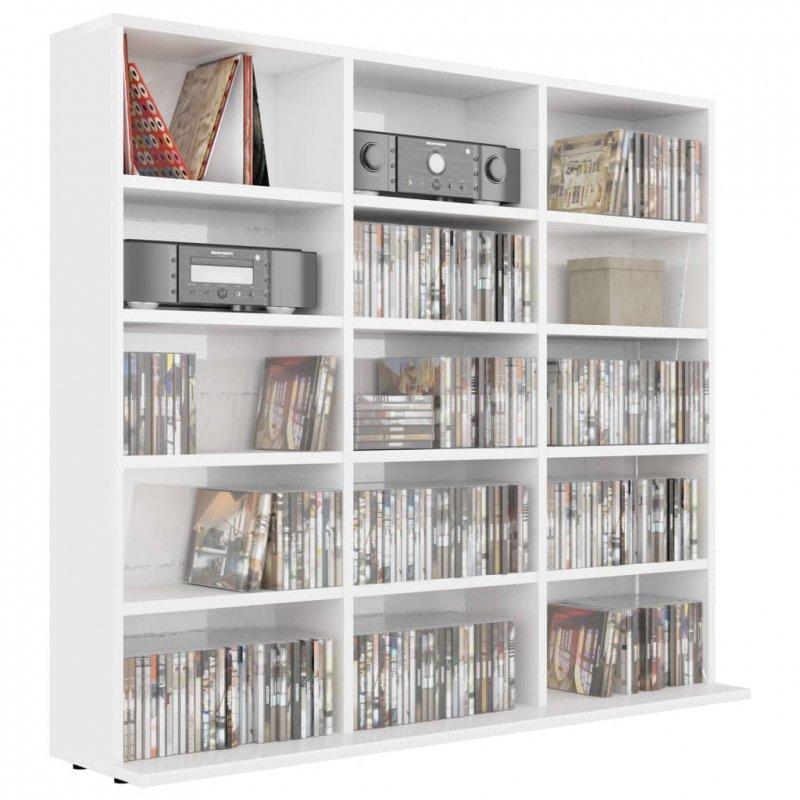 Szafka na płyty CD, wysoki połysk, biała, 102 x 23 x 89,5 cm