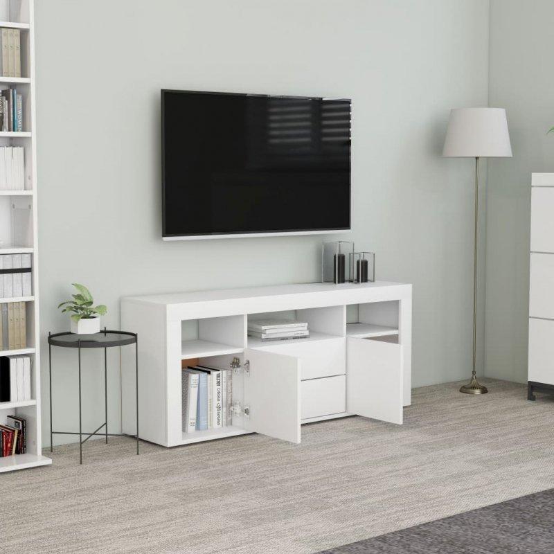 Szafka pod TV, biała, 120x30x50 cm, płyta wiórowa