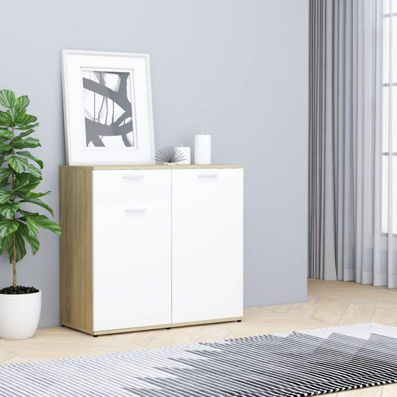 Szafka, biel i dąb sonoma, 80x36x75 cm, płyta wiórowa