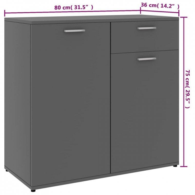 Szafka, szara, 80x36x75 cm, płyta wiórowa