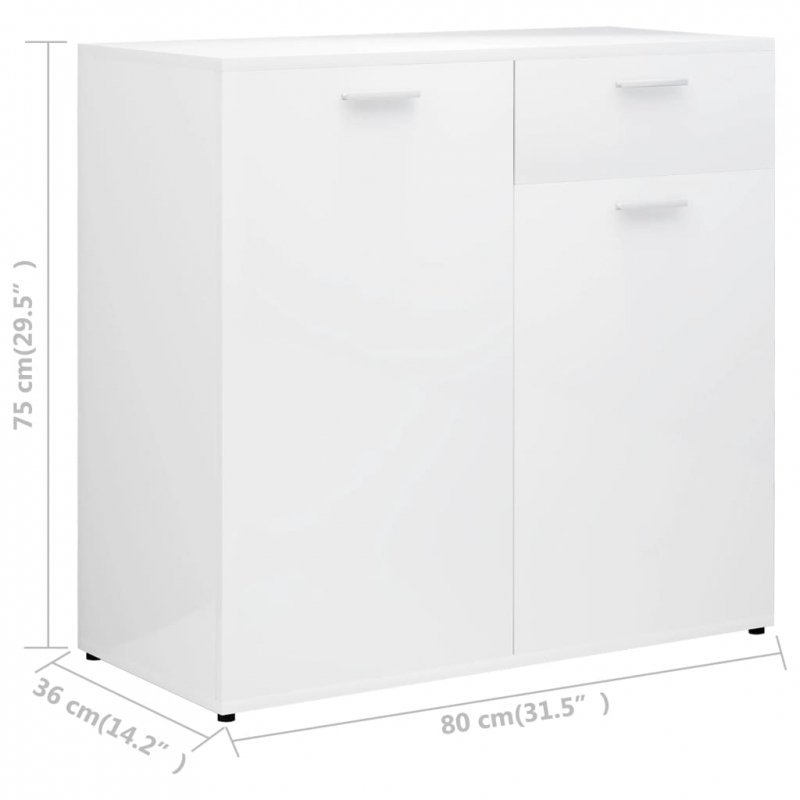 Szafka na wysoki połysk, biała, 80x36x75 cm, płyta wiórowa