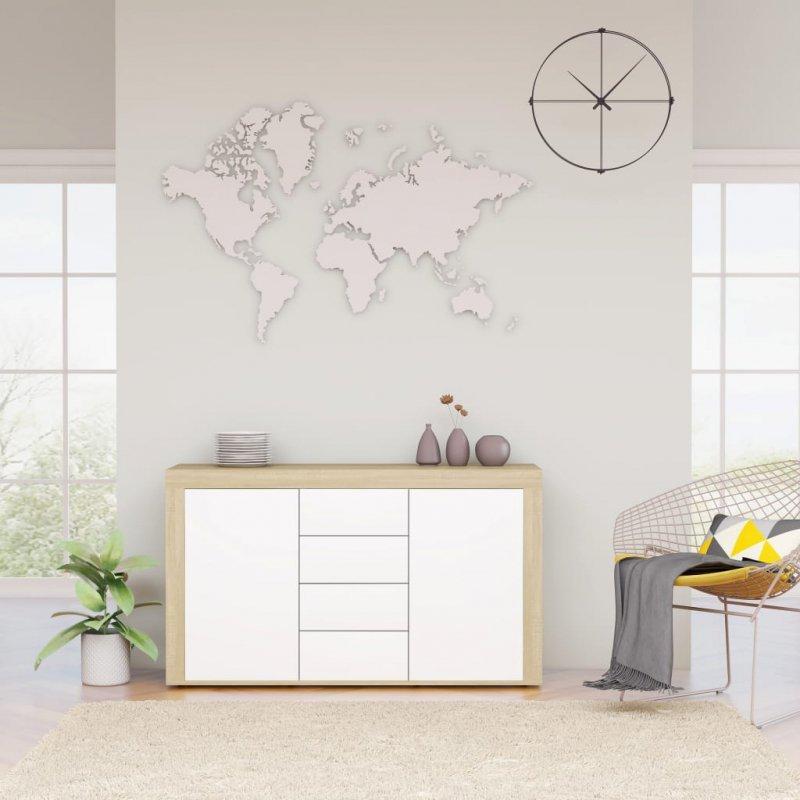 Komoda, biel i dąb sonoma, 120x36x69 cm, płyta wiórowa