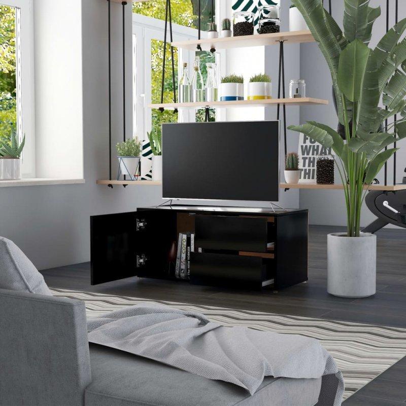 Szafka pod TV, czarna, 80x34x36 cm, płyta wiórowa