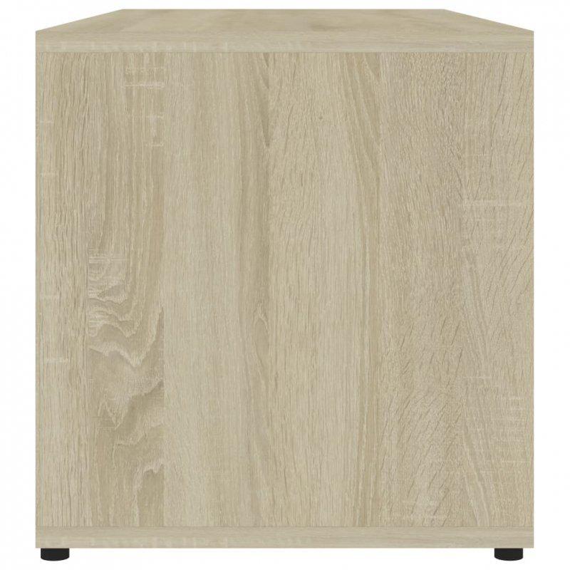 Szafka pod TV, biel i dąb sonoma, 80x34x36 cm, płyta wiórowa