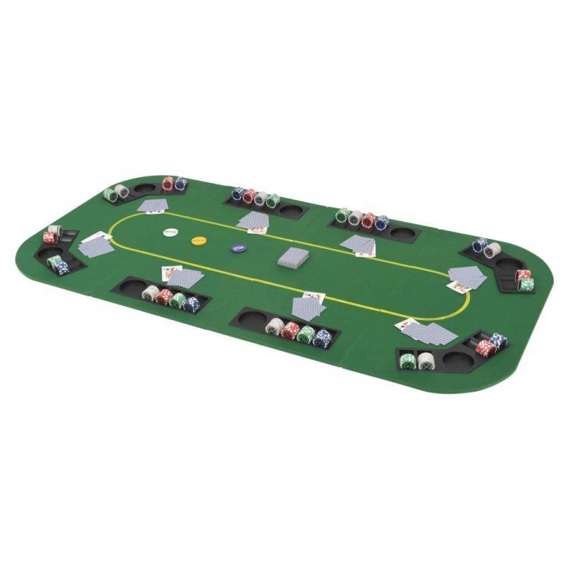 Składany blat do pokera dla 8 graczy, prostokątny, zielony