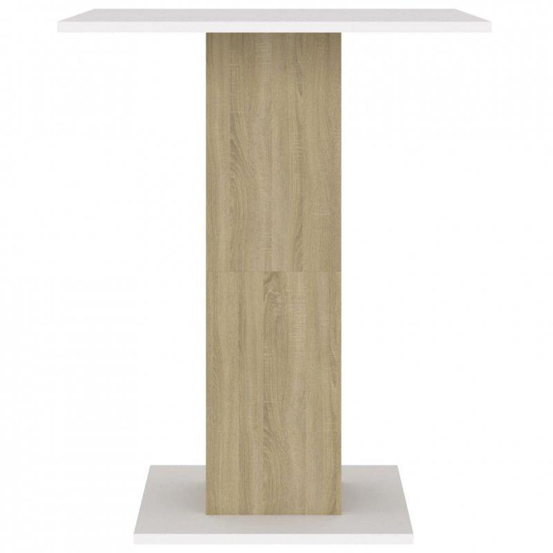 Stolik bistro, biel i dąb sonoma, 60x60x75 cm, płyta wiórowa