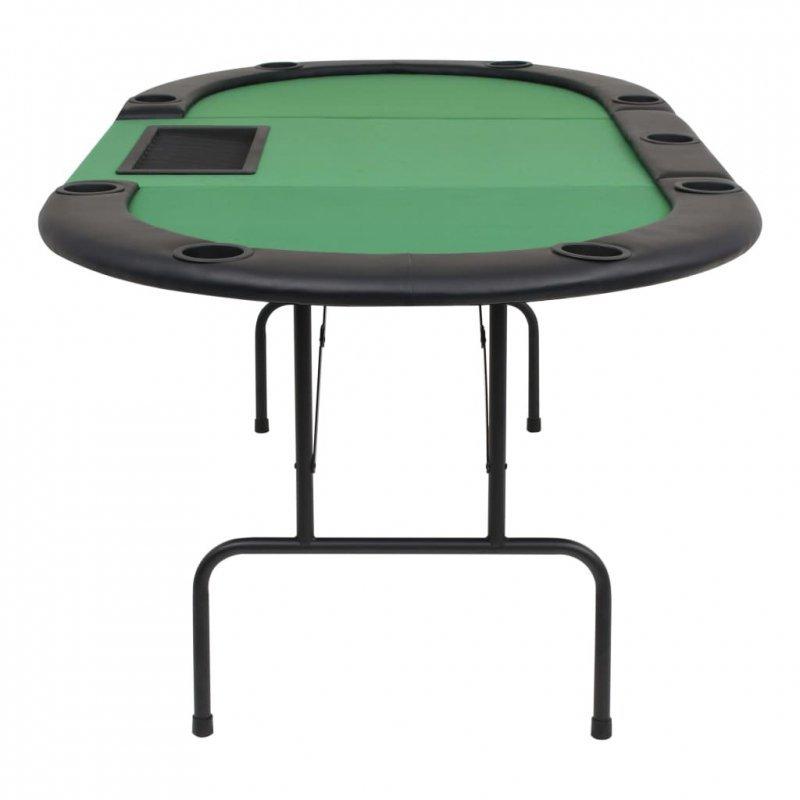 Składany, owalny stół do pokera dla 9 graczy, zielony