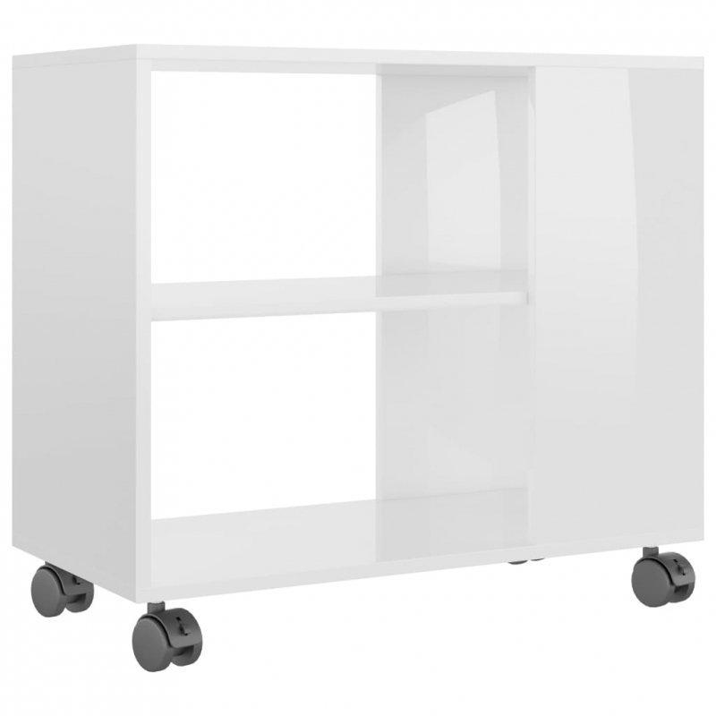 Stolik na wysoki połysk, biały, 70x35x55 cm, płyta wiórowa