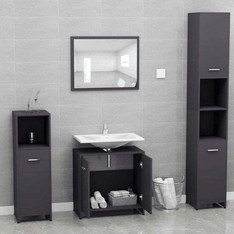 Zestaw mebli łazienkowych, szary, płyta wiórowa