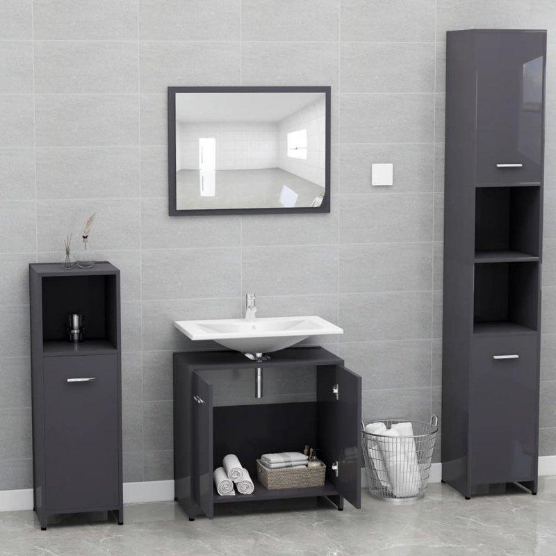 Zestaw mebli łazienkowych, wysoki połysk, szary, płyta wiórowa
