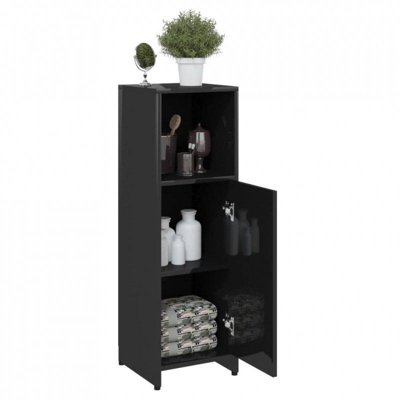 Szafka łazienkowa, czarna, wysoki połysk, 30x30x95 cm, płyta