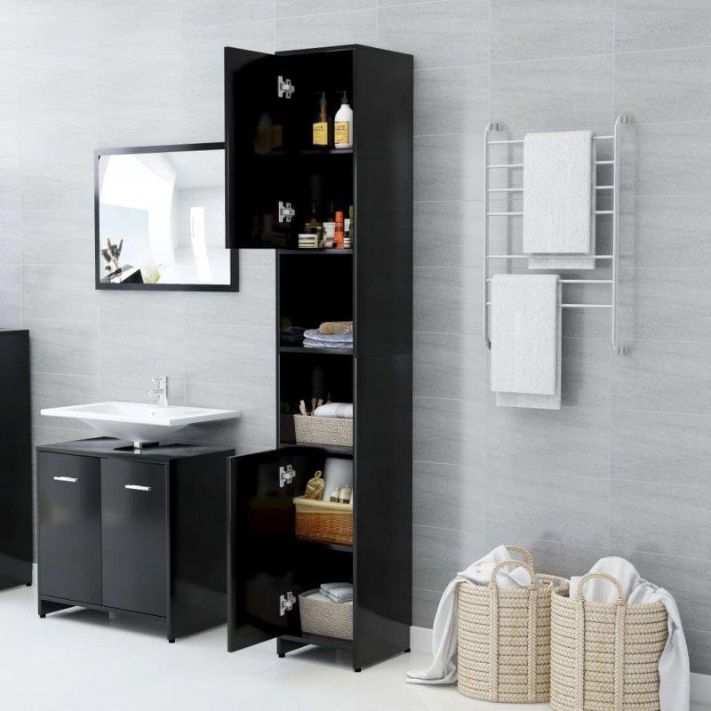 Szafka łazienkowa, czarna, 30x30x183,5 cm, płyta wiórowa