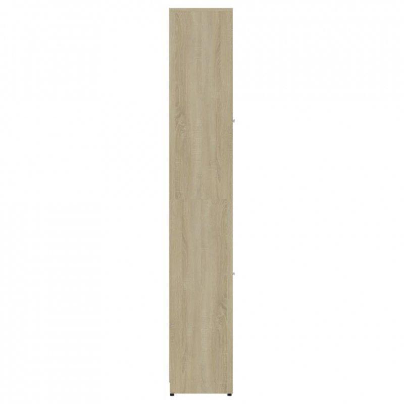 Szafka łazienkowa, biel i dąb sonoma, 30x30x183,5 cm, płyta