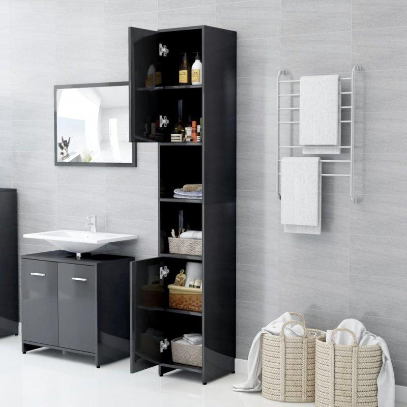 Szafka łazienkowa, szara, wysoki połysk, 30x30x183,5 cm, płyta