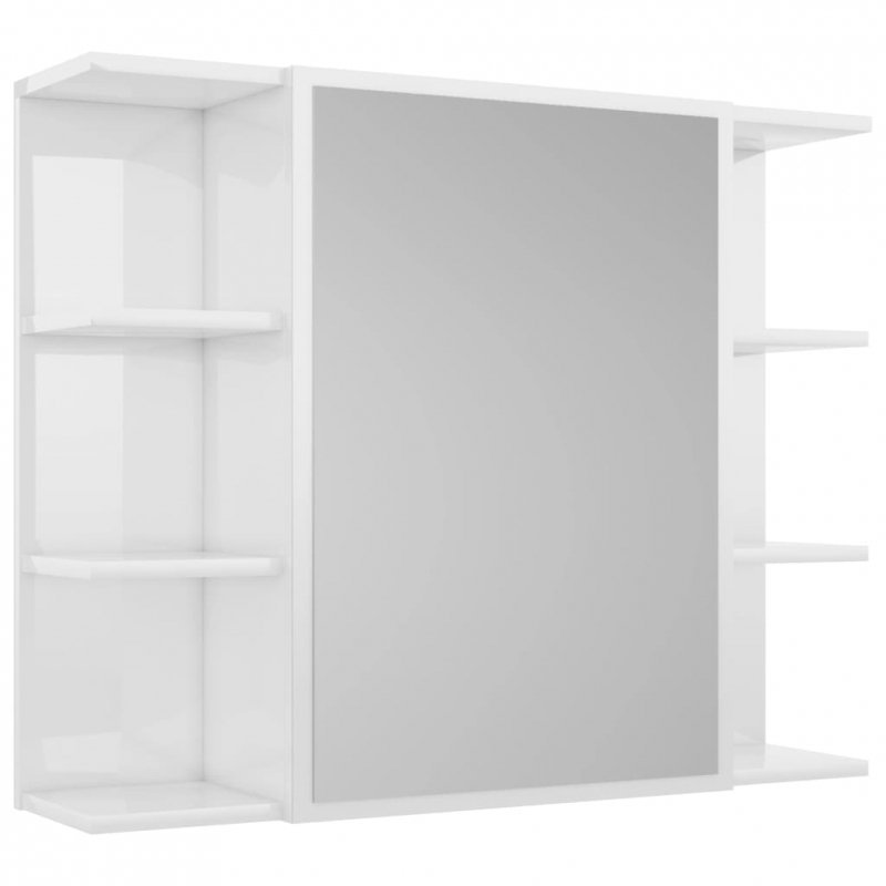 Szafka z lustrem, wysoki połysk, biała, 80x20,5x64 cm, płyta