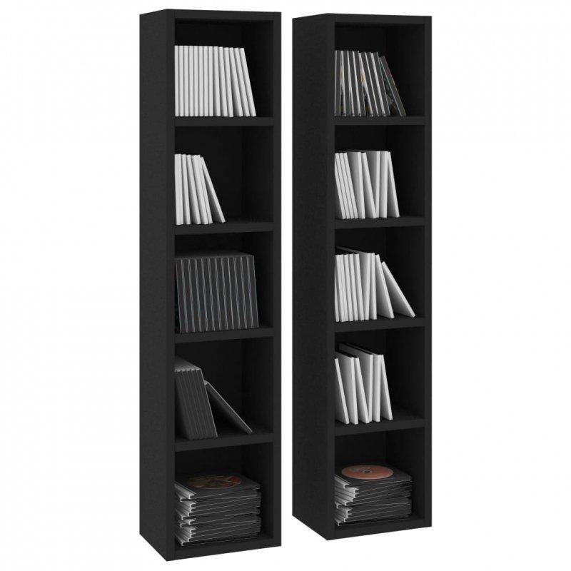 Szafki na płyty CD, 2 szt., czarne, 21x16x93,5cm, płyta wiórowa