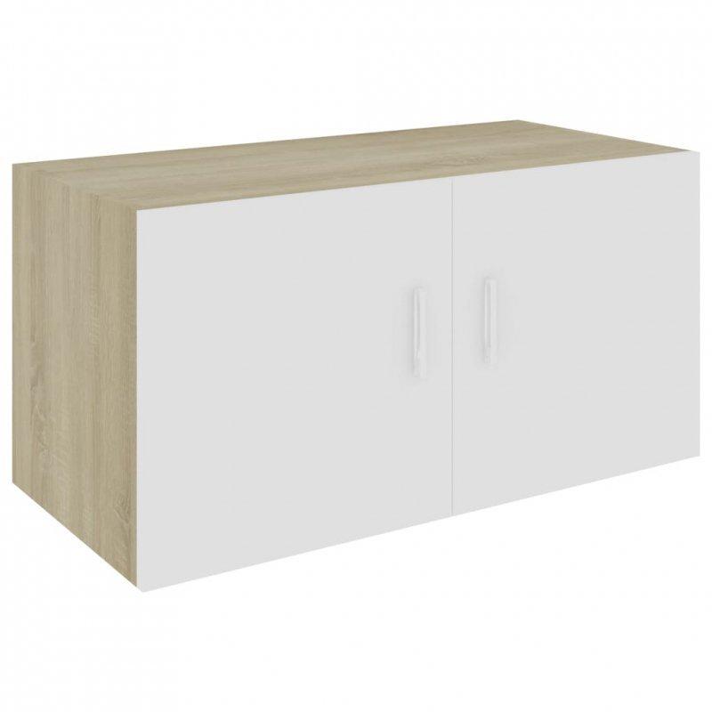 Szafka ścienna, biel i dąb sonoma, 80x39x40cm, płyta wiórowa