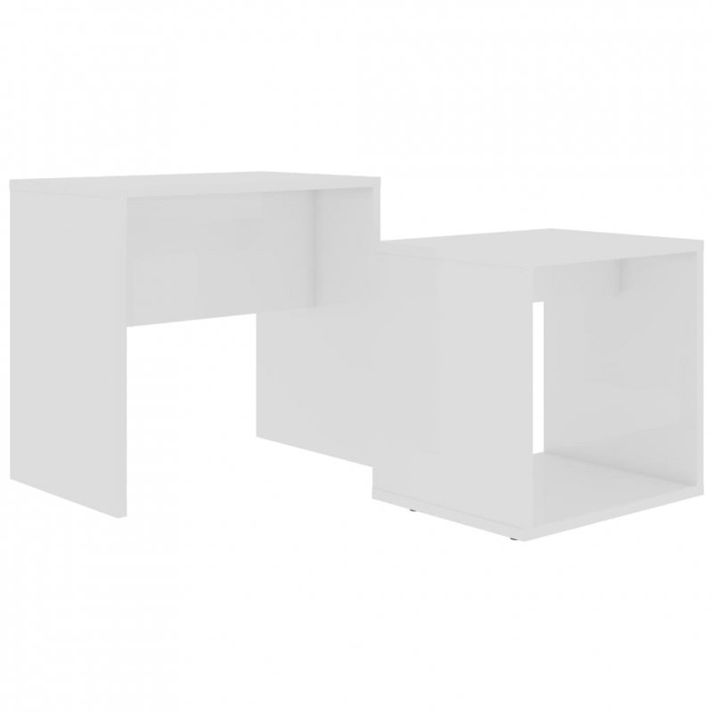 Zestaw stolików kawowych, biały, 48x30x45 cm, płyta wiórowa