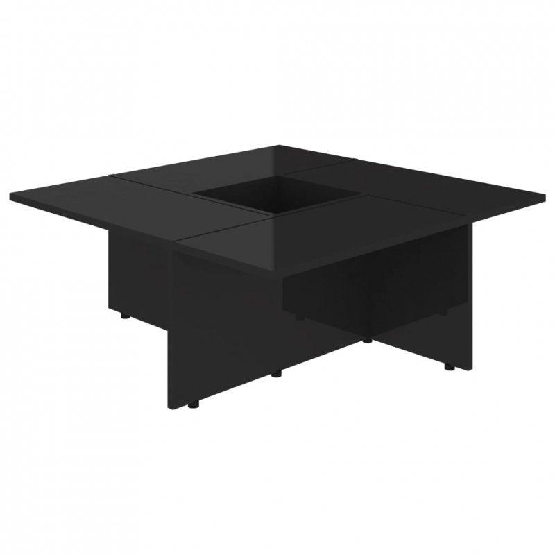 Stolik kawowy, czarny na wysoki połysk, 79,5x79,5x30 cm