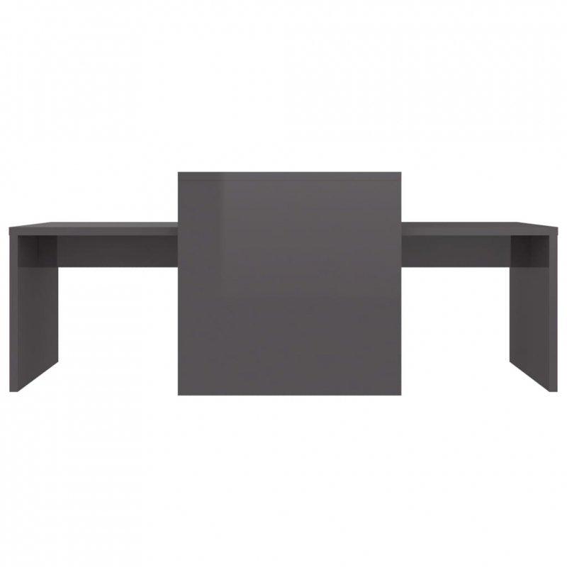 Stolik kawowy, wysoki połysk, szary, 100x48x40cm, płyta wiórowa