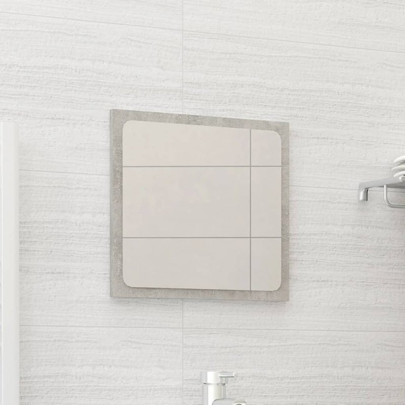 Lustro łazienkowe, szarość betonu, 40x1,5x37 cm, płyta wiórowa
