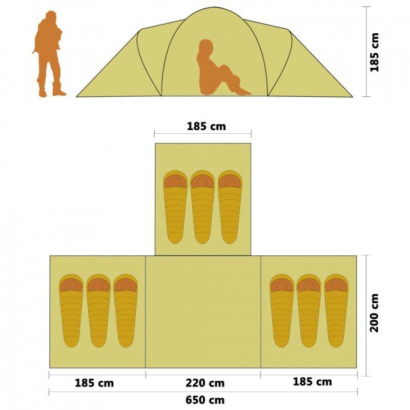 Namiot kempingowy 9-osobowy, niebiesko-żółty