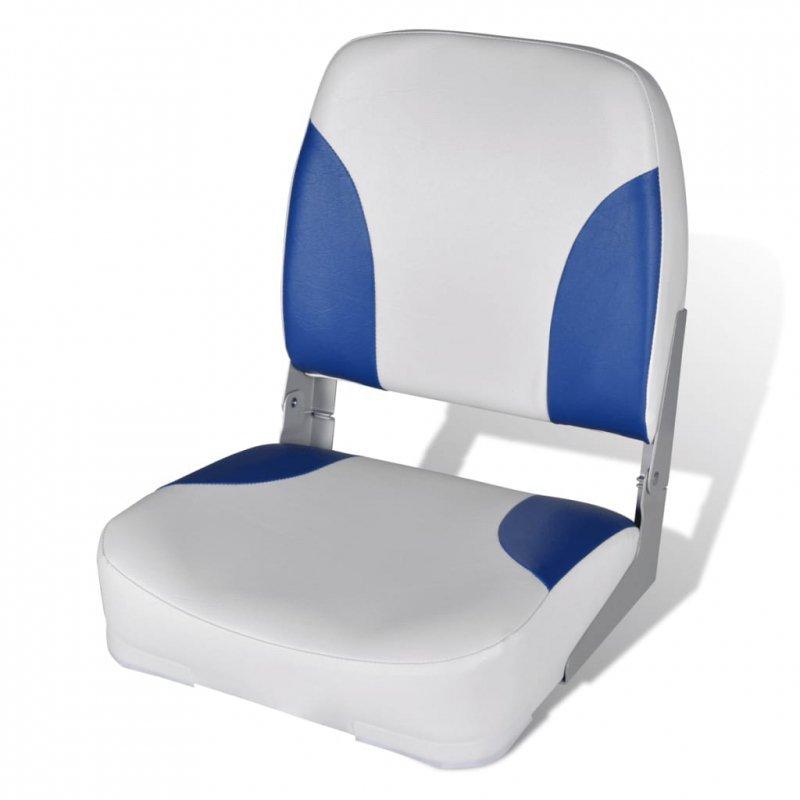 Składany fotel na łódź, biało-niebieski z poduszką, 56x43x48 cm