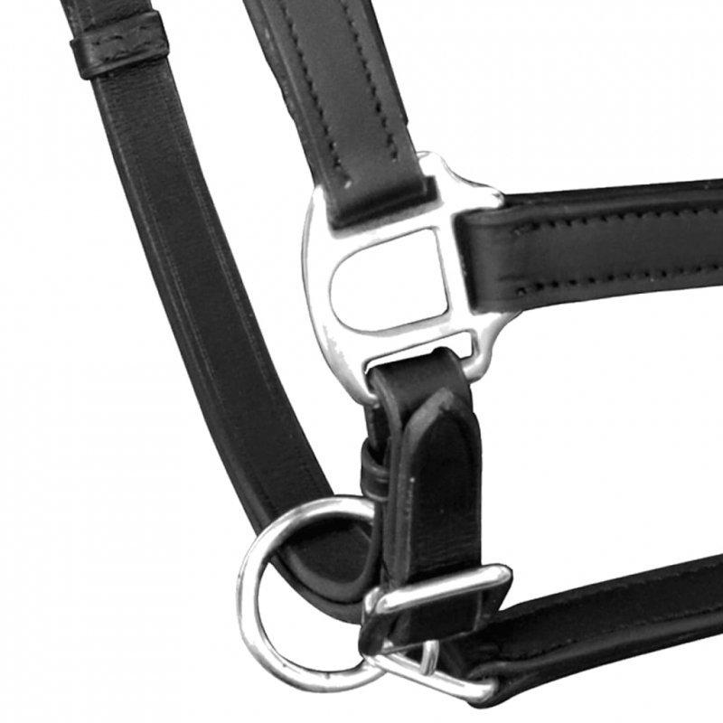 Uprząż na głowę konia z prawdziwej skóry, regulowana, czarna, pełna