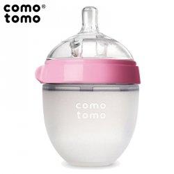 Antykolkowa butelka silikonowa MOM'S BREAST 150 ml Pink NEWBORN