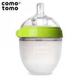 Antykolkowa butelka silikonowa MOM'S BREAST 150 ml Green NEWBORN
