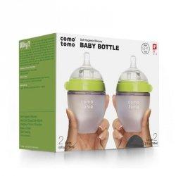 2 antykolkowe butelki silikonowe MOM'S BREAST 150 ml Green NEWBORN 2 pack