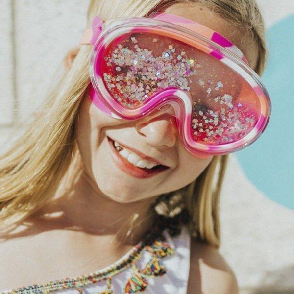Maska do pływania z brokatem i serduszkami różowa, 6+