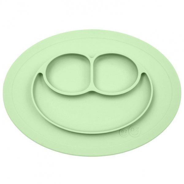 Silikonowy talerzyk z podkładką mały 2w1 Mini Mat pastelowa zieleń