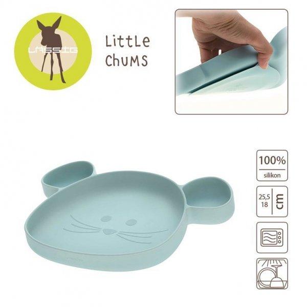 Talerz silikonowy z przyssawką Little Chums Mysz niebieski