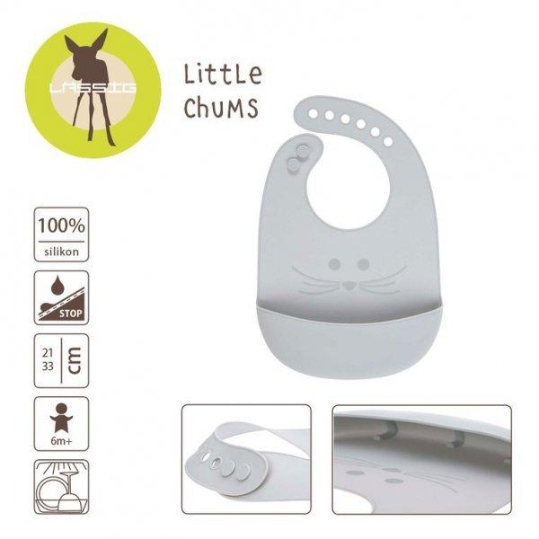 Śliniak silikonowy z kieszonką Little Chums Mysz szary