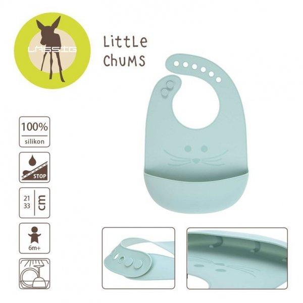 Śliniak silikonowy z kieszonką Little Chums Mysz niebieski