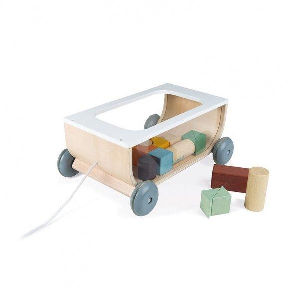 Wózek do ciągnięcia  drewniany z 17 klockami Sweet Cocoon
