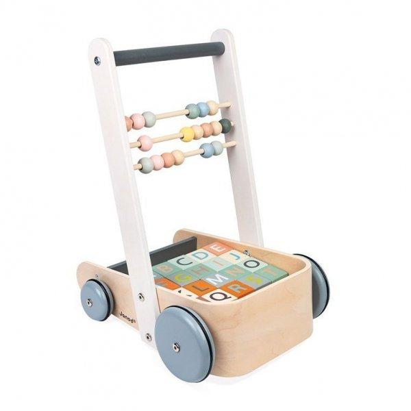 Wózek pchacz drewniany z 20 klockami Sweet Cocoon