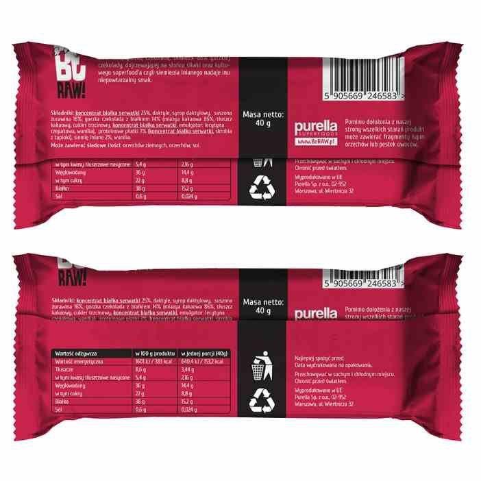 BeRAW Baton Proteinowy - Żurawina Purella, 40g